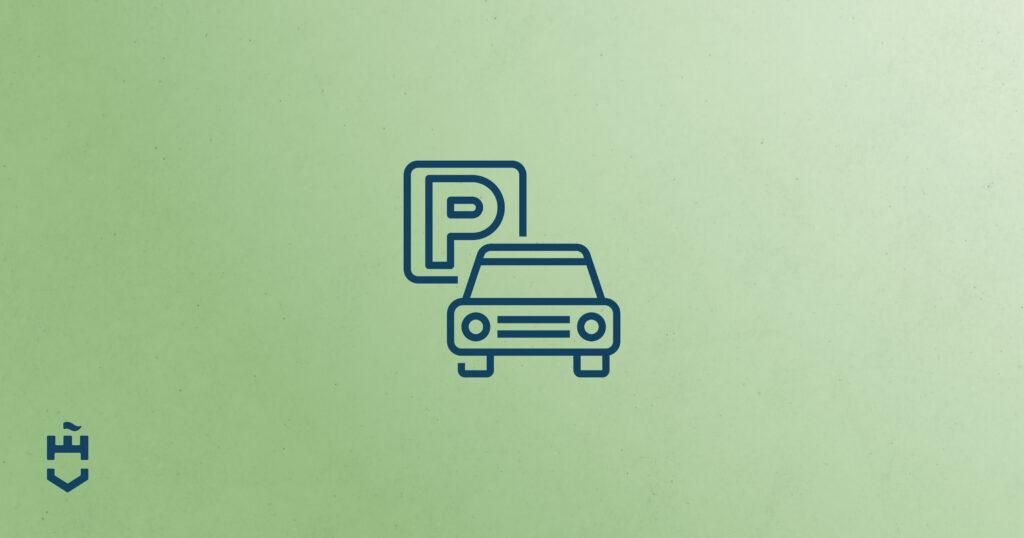 Zöld alapon Parkoló autó piktogramm